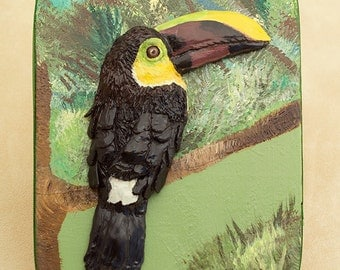 Toucan Sculpture, Polymer Clay Bas Relief Tropical Bird Sculpture on Wooden Keepsake Box, Rainforest Art, Exotic Bird Lover Gift, Memory Box