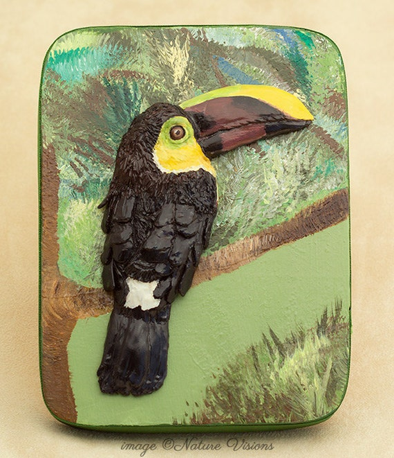 Art Clay Sculpted Bird Nest Ring: Toucan Sculpture Polymer Clay Bas Relief Tropical Bird