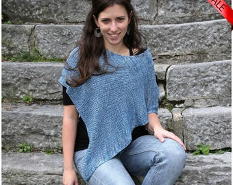 ON SALE Handmade Bamboo Poncho - Blue shades - Eco Friendly Fashion Knitting Accessorie