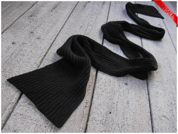 ON SALE Black bamboo skinny scarf