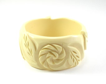 Carved Bracelet With Flowers And Leaves Chunky Wide Cream Bangle Vintage Jewelry
