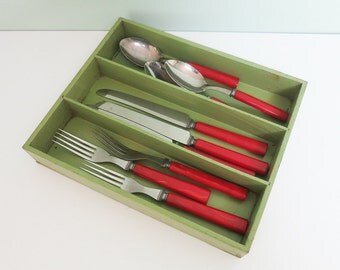 Small Vintage Wooden Cutlery Tray with Green Paint