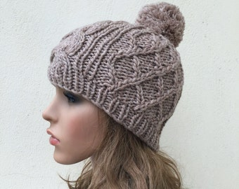Buy 1 get 2nd for 19.99 buy 2 get 3rd for 9.99-Hand Knit Hat wool  Beret Hat with Pom Pom in Oatmeal