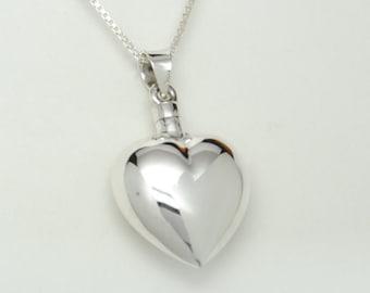 Sterling Silver Cremation Jewelry Heart Cremation Urn Necklace Bottle Memorial Keepsake Pendant Urn