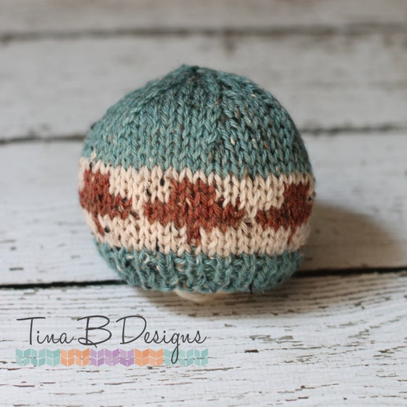 Knitting Patterns Maple Leaf Hat : Newborn knit maple leaf hat in blue cream and rusty red by tinab76