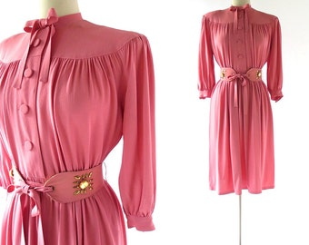 Vintage 1940s Dress / Rose Loukhoum Pink Dress / 40s Dress / XS
