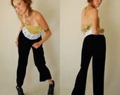 Velvet Trousers Vintage Blackest Black Draped Lush Velvet Urban Boho Wide Leg Pants (s m)