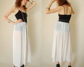 Sheer Pleat Skirt Vintage 80s Sheer Summer White Pleated High Waist Boho Indie Maxi Skirt  (s m)