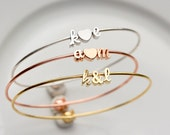 Cursive Initial &/Heart Bangle Bracelet Script - Lovers Initials Gold Silver Rose Gold Bridal Gift Personalized Bridesmaid Wedding