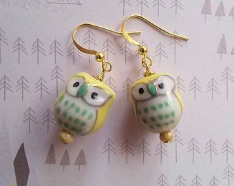 WISE GUYS - Yellow Owl Earrings- Woodland Hipster Jewelry