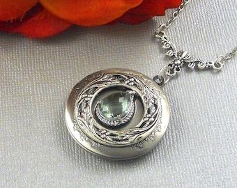 Victorian Gray Grey Locket Antique Silver Locket Rhinestone Vintage Fall Winter Chic Filigree Locket Necklace