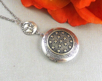 Stellar Star Locket,Silver Locket, Moon,Goddess,Star, Sun, Necklace, Antique Locket, Silver, Star Jewelry