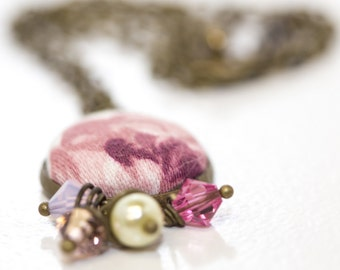 Simply Pink Roses Fabric Button Necklace with Vintage Style Accents, Swarovski Crystals, Pearls