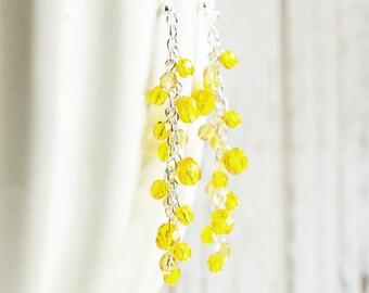 Yellow Dangle Earrings - Yellow Bead Cluster Earrings with Silver Plated Hooks, Long Yellow Earrings, Sunflower Yellow, Czech Glass Jewelry