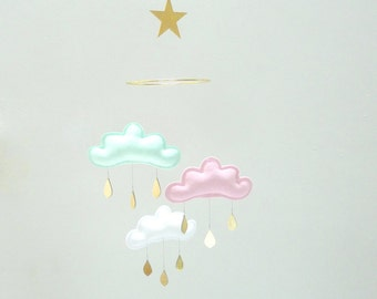 """Mint,Light Pink,White cloud mobile for nursery with gold star """"ADÈLE PASTEL"""" by The Butter Flying-Rain Cloud Mobile Nursery Children Decor"""