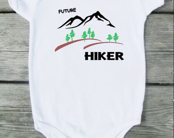 Future Hiker Baby Bodysuit.  White Long Sleeve available