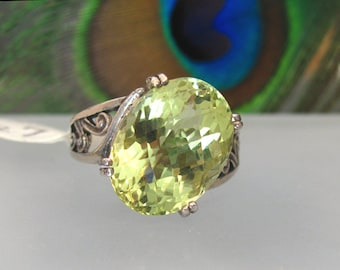 Prasiolite Ring Faceted Gemstone Lime Yellow 10.10ct Sterling Silver - Size 7