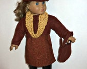 18 Inch Doll Outfit, Brown Cotton Dress, Faux Suede Jacket, Matching Purse, Newsboy Hat, Accessories, American Made, Girl Doll Clothes