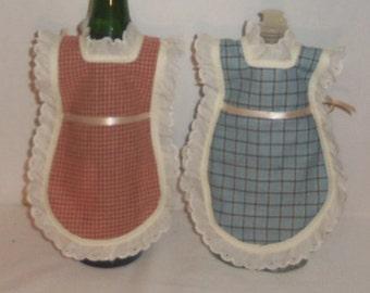 Wine Bottle Apron, Handmade, Bottle Gift Wrap, Detergent Cover, Cotton Homespun, Mini Kitchen Apron, Eyelet Lace