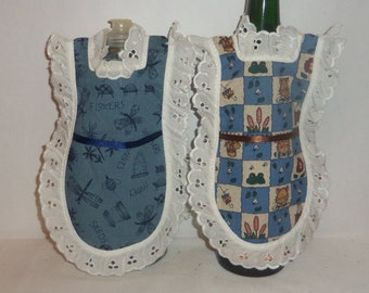 Dish Soap Apron, Country Blue, Cats Dragon Fly, Wine Bottle, Detergent Cover, Eyelet Lace, Kitchen, Farmhouse Decor