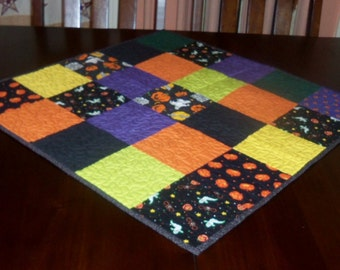 Quilted Table Runner, Handmade, Halloween, 27x27 inches, Square Table Topper, Sale Priced, Ghosts and Goblins, Machine Quilted