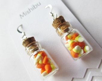 Halloween Candy Corn Jar Earrings