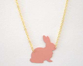 Pink Rabbit Necklace, Bunny Necklace, Matte Gold Necklace, Animal Necklace, Rabbit Jewellery, Metal Necklace