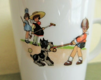 Vintage Cup, Child's Cup, Pier One, Ceramic Mug, Children, Croquet, Dog, Puppy, Made West Germany, Ceramic Cup, Kid's Cup, Cute Kawaii Zakka