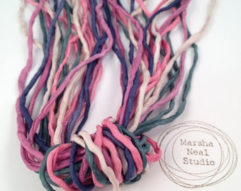 Hand Dyed Silk Ribbon - Silk Cord - DIY Craft - Jewelry Supplies - Wrap Bracelet - Craft Supplies - 2mm Silk Cord Strands Winter Paperwhites