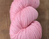 "Hand-dyed Yarn, ""Softique,"" Superwash Merino + Silk, Pink Fingering Weight Sock Yarn (B)"