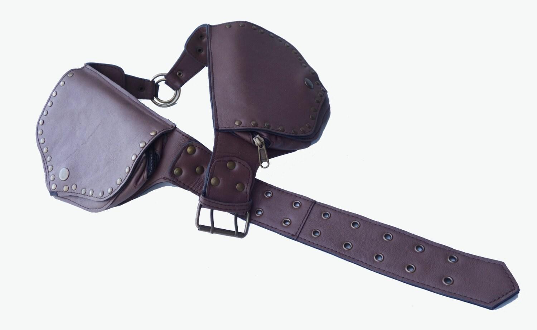 leather utility belt brown ring saddlebag 4 pocket
