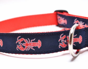 Lobster Dog Collar / Nautical Dog Collar / Red Lobsters