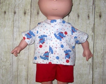 Caillou Classic 14.5 inch Doll Clothes Cute Blue Elephant Shirt and Short  Set  Made In Usa   PBS  Sprout