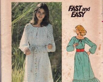 1970s Prairie Style Dress Sewing Pattern - Butterick - Medium