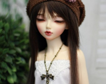 BJD Hat - Minifee Size - MSD Beret in Chocolate Brown with Mauve Flower
