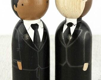 Wood Peg Doll Gay Interracial Wedding Cake Topper - African American & Caucasian Grooms - 704419