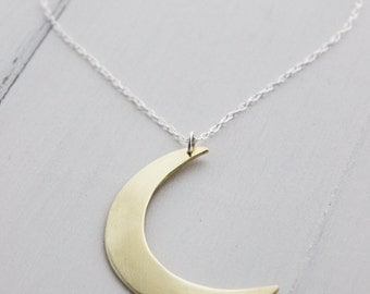 Brass Moon Pendant, Large Crescent Moon, Boho Chic, Minimalist jewelry, Astrological Jewelry, Bod jewelry, Statement Necklaces,Hapa Girls