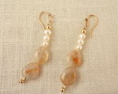 Vintage 14K Gold Filled Dangle Earrings with Cultured Pearls and Rutilated Quartz