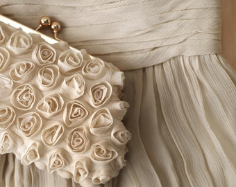 Rosebuds Floral Clutch in Dark Champagne | Holiday and Wedding Gift for Brides, Bridesmaids and Mothers (Ready to ship)