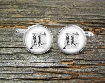 Golf Players Antique Tie Clip Silver Tie Clip By