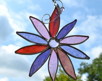 Pretty In Pink and Purple Flower Stained Glass Suncatcher