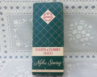 Vintage Coats Clarks ONT Nylon Sewing Thread Box with 12 Spool of Thread Nylon White Mercerized brown orange blue