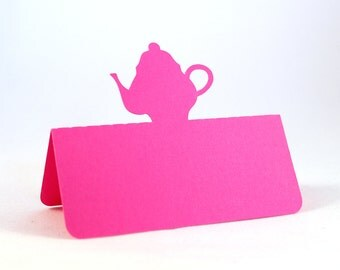 Teapot Place Cards Set of 50, Tea Party, bridal shower, Mad Hatter tea party