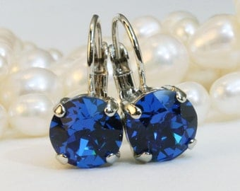 Royal Blue Drop Earrings Cobalt Blue Swarovski Crystal Royal Blue Wedding 8mm single stone Earrings Rhinestone,Silver finish,Capri Blue, SE2