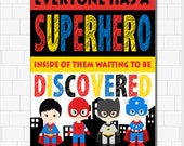 Superhero Decor, Superhero Classroom Decor, Superhero Wall Art, INSTANT DOWNLOAD, Superhero Teacher, Superhero Inside, Superhero Theme