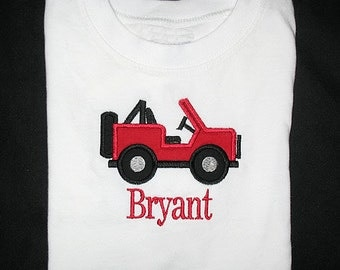 Custom Personalized Applique JEEP and NAME Bodysuit or Shirt - Red and Black