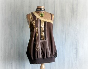Eco Boho Top Off Shoulder Shirt Women's Brown Tunic Recycled Clothing Bohemian Style Reconstructed T-Shirt Loose Fit Chic Clothes L 'PEYTON'