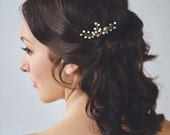 Gold Pearl Headpiece | Ivory Wedding Hair Accessories | Golden Bridal Hair Comb [Aurae Hairpin]