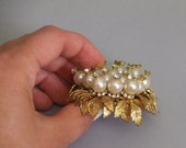 Vintage Pearl and Rhinestone Brooch // Large pin with gold tone leaves Fabulous! // mid century evening jewelry