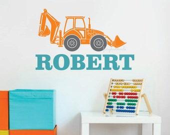 Bulldozer with Boy Name Wall Decal, construction wall decals, boys room decor, backhoe construction wall art, nursery wall decals, vinyl